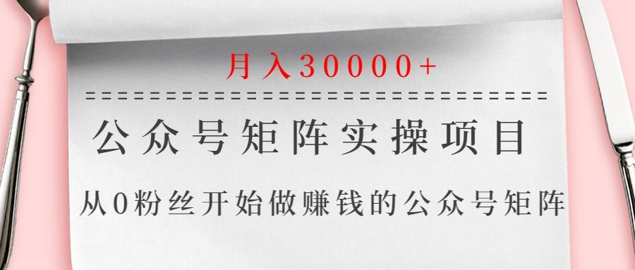 公众号矩阵实操项目,从0粉丝开始做赚钱的公众号矩阵,月入30000+