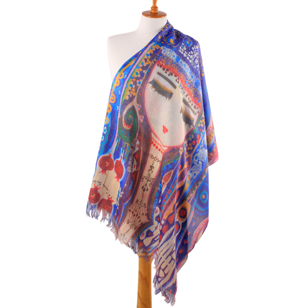 BiggDesign Blue Water Patterned Scarf By Canan Barber