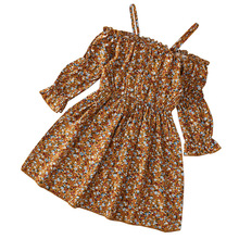 Floral Print Girls Dress Summer Bohemian Dress Spaghetti Strap Beach Sundress Princess Toddler Girls Clothes Children Dresses