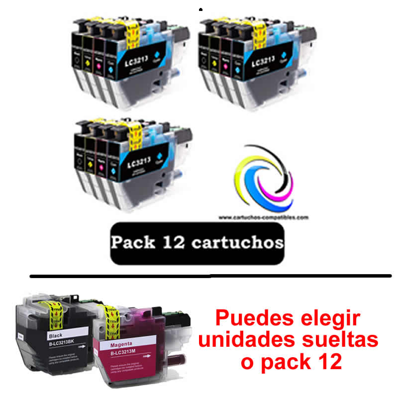 To Brother Pack 12 Or Units LC-3211 LC-3213 LC3211 LC3213 J497DW J572DW J772DW J772DNW J774DW J491DW J497DW J890DW J895DW