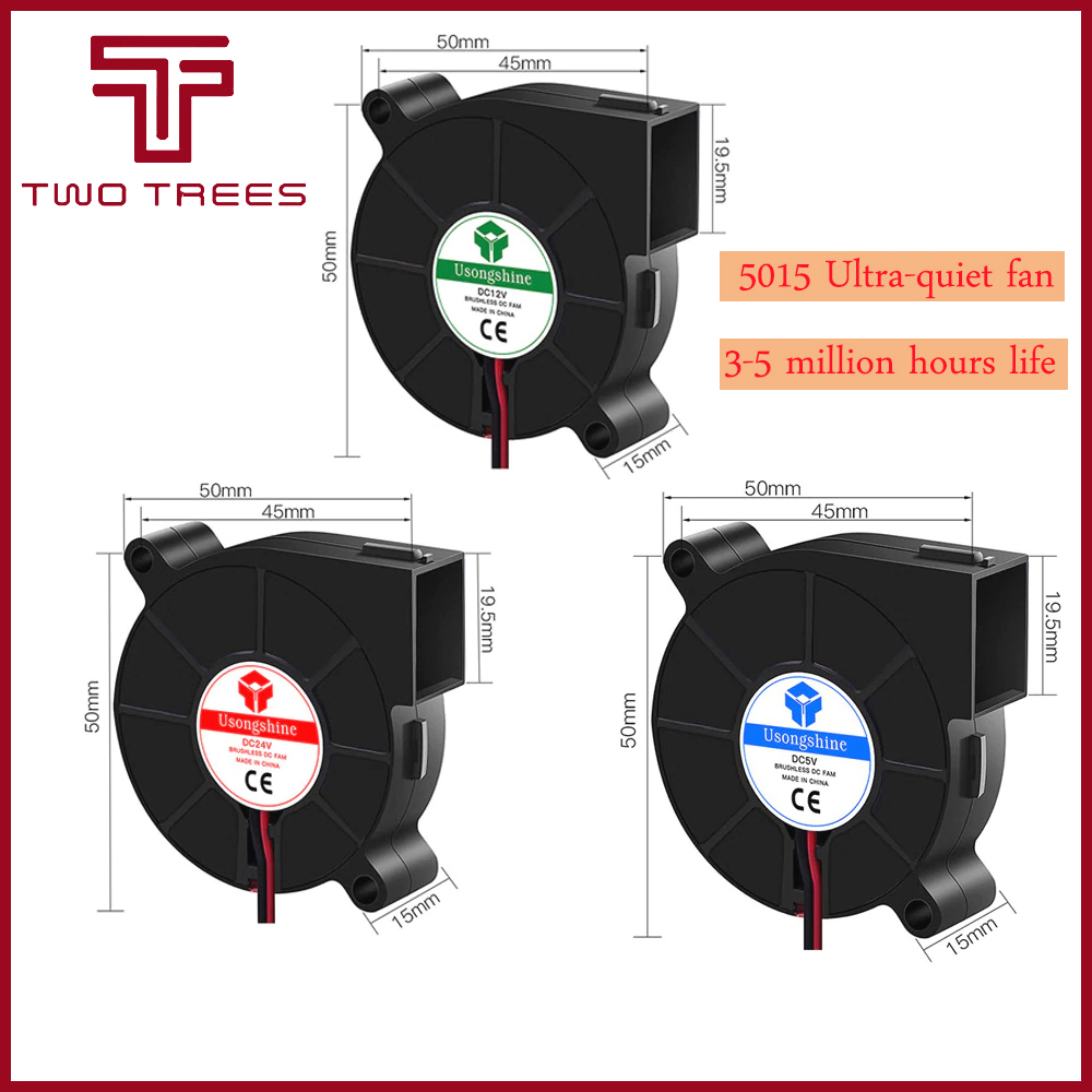 Вентилятор для 3D-принтера, 1 шт., 5 В/12 В/24 В постоянного тока, 5015, охлаждающий вентилятор, горячий экструдер для запчастей для 3D-принтера RepRap, 50 ...
