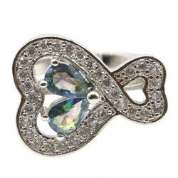 20x16 мм 2020 Лидер продаж создала Лондон Голубой топаз Белый CZ подарок для женщины, одежда на каждый день, Серебряные кольца