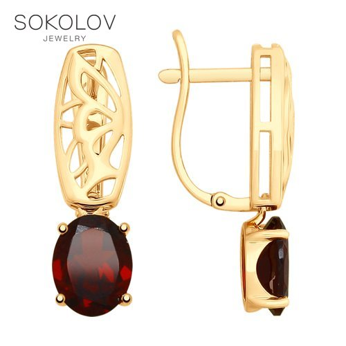 SOKOLOV Drop Earrings With Stones With Stones With Stones With Stones Of Gold With Garnets Fashion Jewelry 585 Women's Male