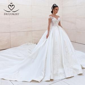 Image 1 - Luxury Beaded Princess Wedding Dress 2020 Sweetheart Crystal Appliques Satin Ball Gown Bridal Swanskirt F306 Vestido de noiva