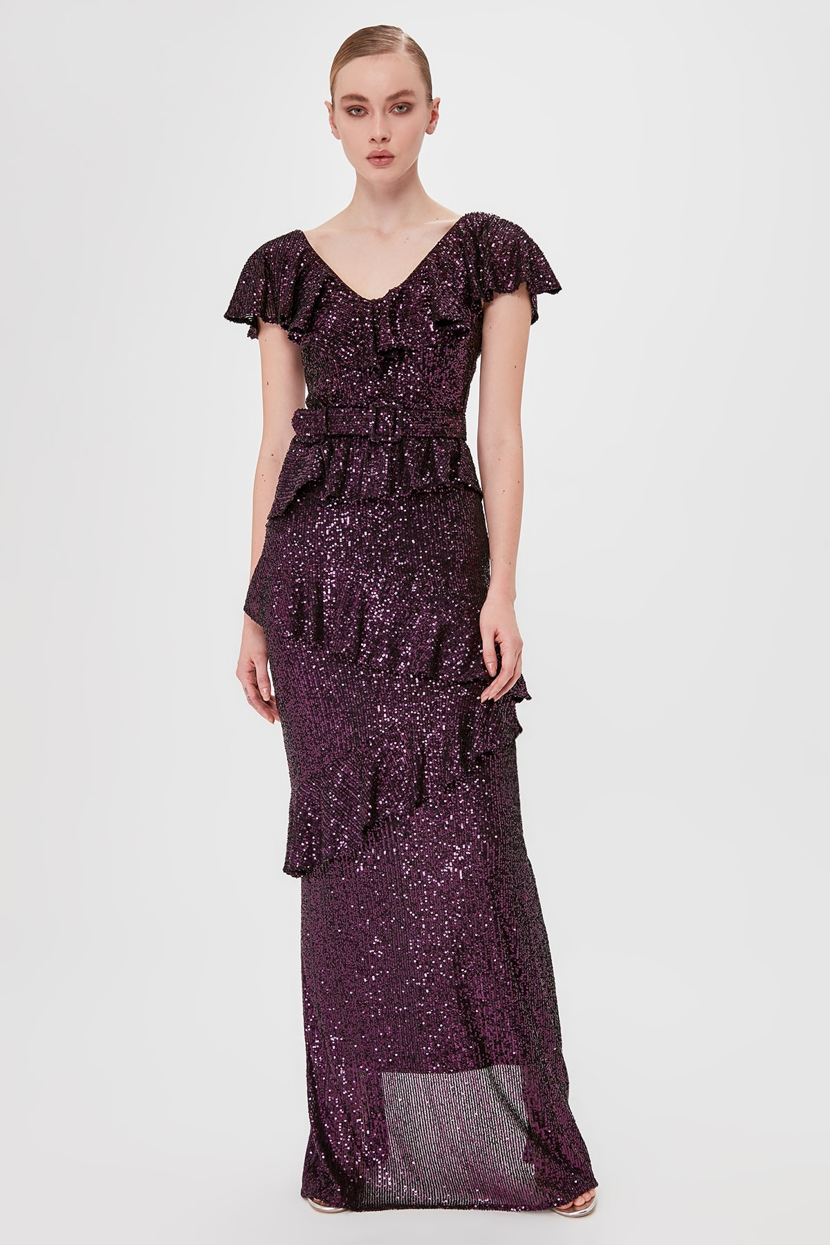 Trendyol Flounces Sequin Evening Dresses & Prom Gown TPRSS20AE0060