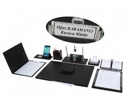 Нева 12 шт. полный набор роскошный черный кожаный стол набор/стол Pad набор с именной табличкой табличка тег главный Органайзер