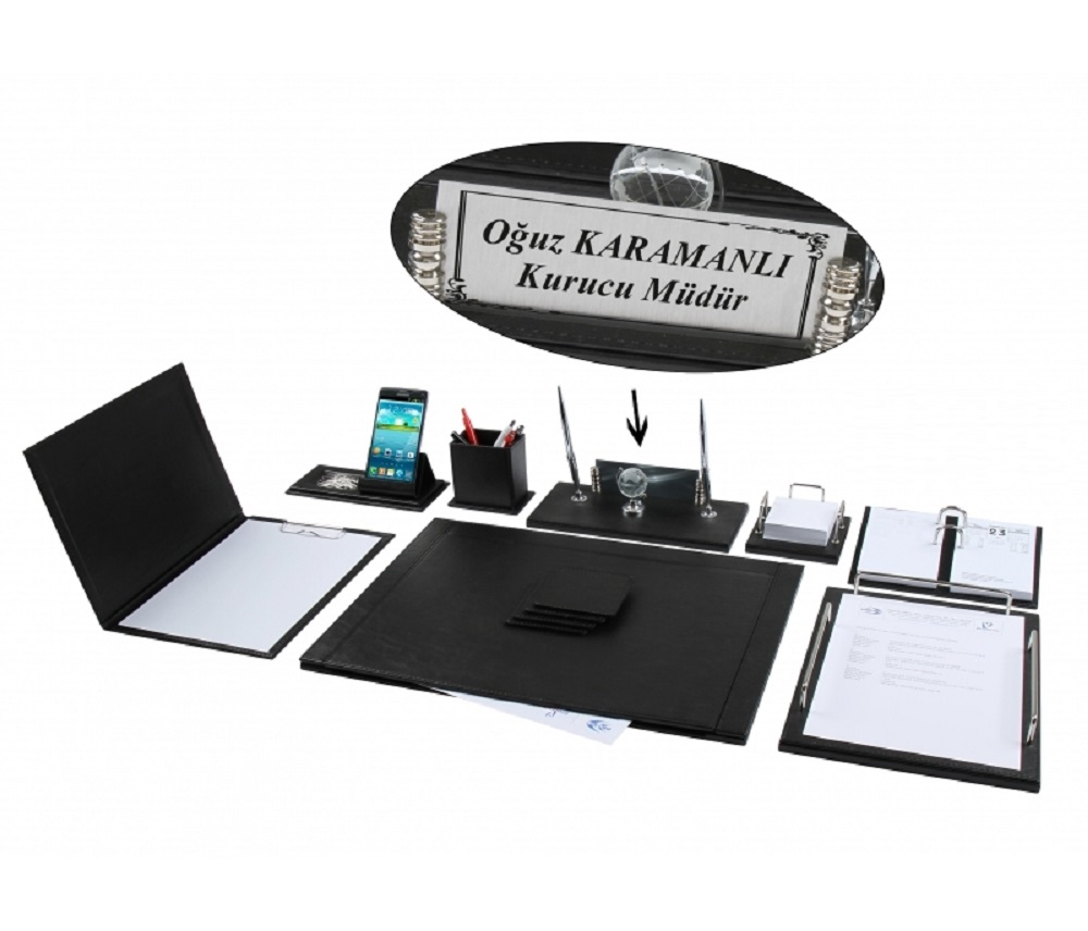 NEVA 12 Pieces Full Set Luxury Black Leather Desk Set/Desk Pad Set With Name Plate Nameplate Tag Chief Organizer