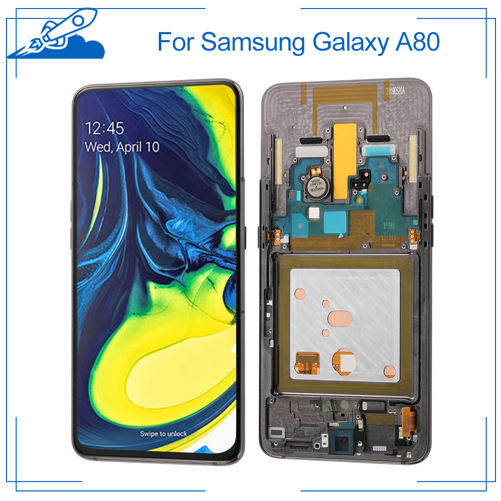 100% OEM AMOLED For <font><b>Samsung</b></font> <font><b>Galaxy</b></font> <font><b>A80</b></font> <font><b>LCD</b></font> Touch Screen amoled Display Digitize Assembly Replacement Frame NO Dead Pixel Shadows image