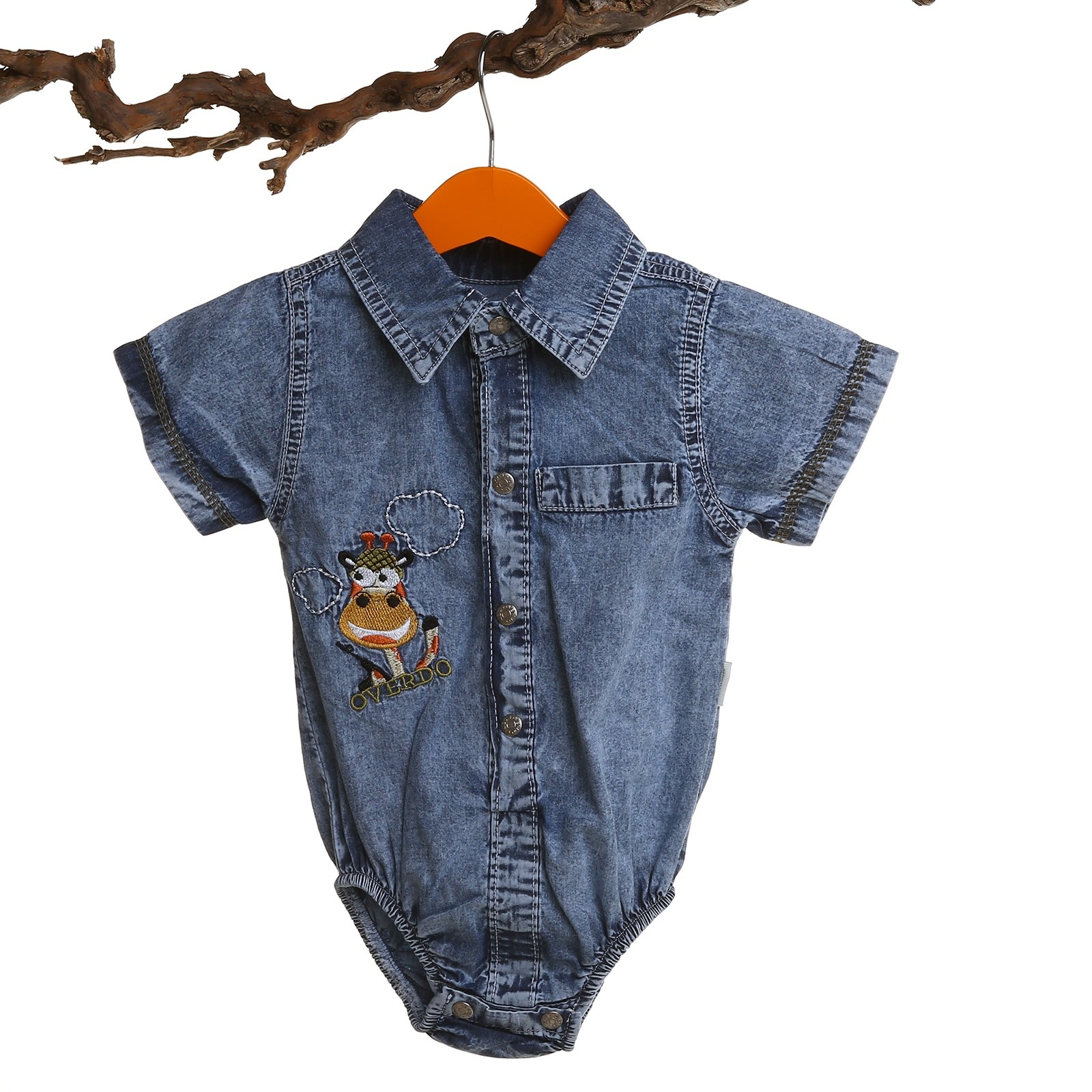 Ebebek Overdo Embroidered Short Sleeve Denim Shirt Bodysuit