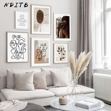 Line Drawing Abstract Canvas Painting Vintage Poster Nordic Art Print Modern Scandinavian Wall Picture Living Room Decoration