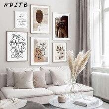 Línea de dibujo lienzo abstracto póster Vintage de pintura arte nórdico impresión moderna escandinava cuadro de pared decoración de sala de estar