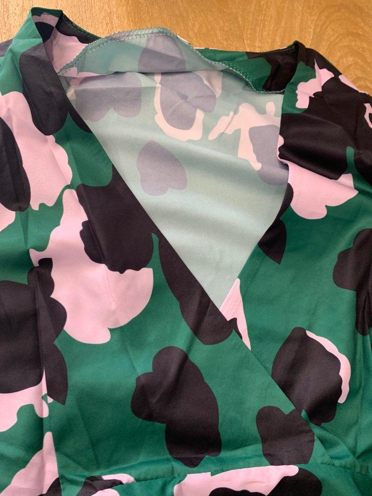 SparkDora HOT 2020 tik-tok Big V  Spring European And American Green Cake Dress Tower Dress Flower Printed V-neck Fashion Dress reviews №4 135859