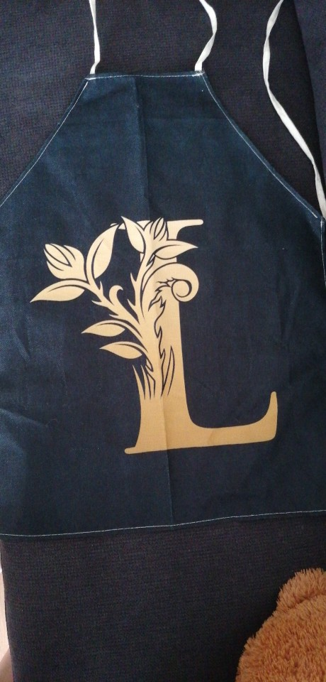 Gold Letter Alphabet Pattern Kitchen Apron photo review