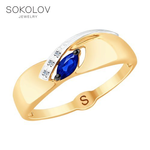 SOKOLOV Ring Gold With Diamonds And Sapphire Fashion Jewelry 585 Women's Male