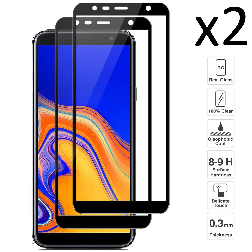 <font><b>Samsung</b></font> <font><b>Galaxy</b></font> <font><b>J4</b></font> Plus <font><b>2018</b></font>/J6 Plus <font><b>2018</b></font>, set 2 pieces tempered <font><b>glass</b></font> screen protector ultra thin easy to install image