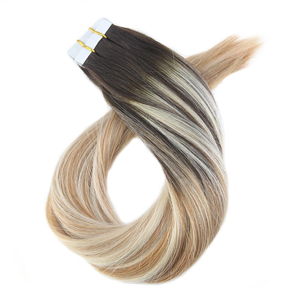 Moresoo Tape In Hair Extensions Balayage Color Glue On Hair Extensions 100% Real Remy Human Hair 1.5g/pcs