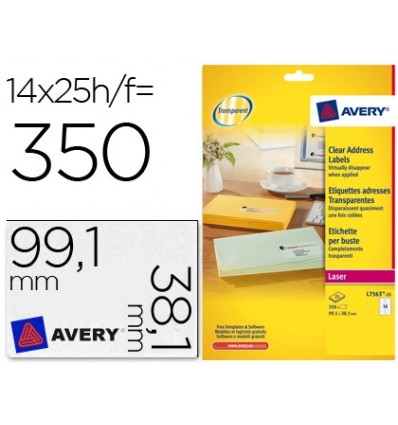 STICKER ADHESIVE AVERY DIN A4 PRINTABLE TRANSPARENT 99,1X38,1 MM 25 SHEETS WITH 350 DECALS