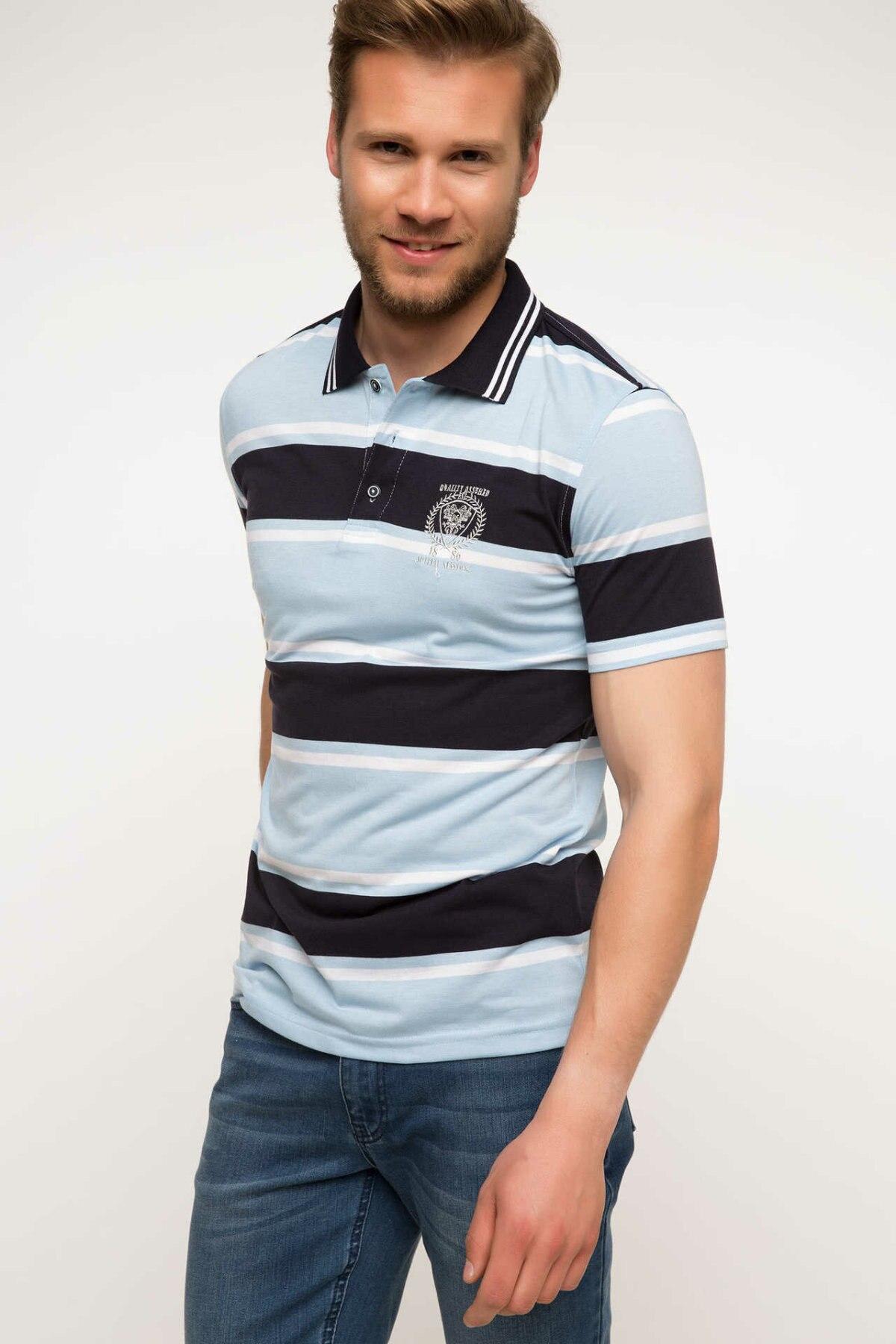 DeFacto Men Summer Polo Shirt Casual Striped Cotton Short Sleeve Polo Shirts Male Simple Breathable Tops Tee -G9141AZ17SM-G9141AZ17SM