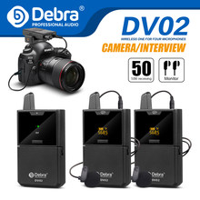 Debra DV UHF Interview Wireless Lavalier Microphone with Audio Monitor 50M Range for phones DSLR Cameras Live recording