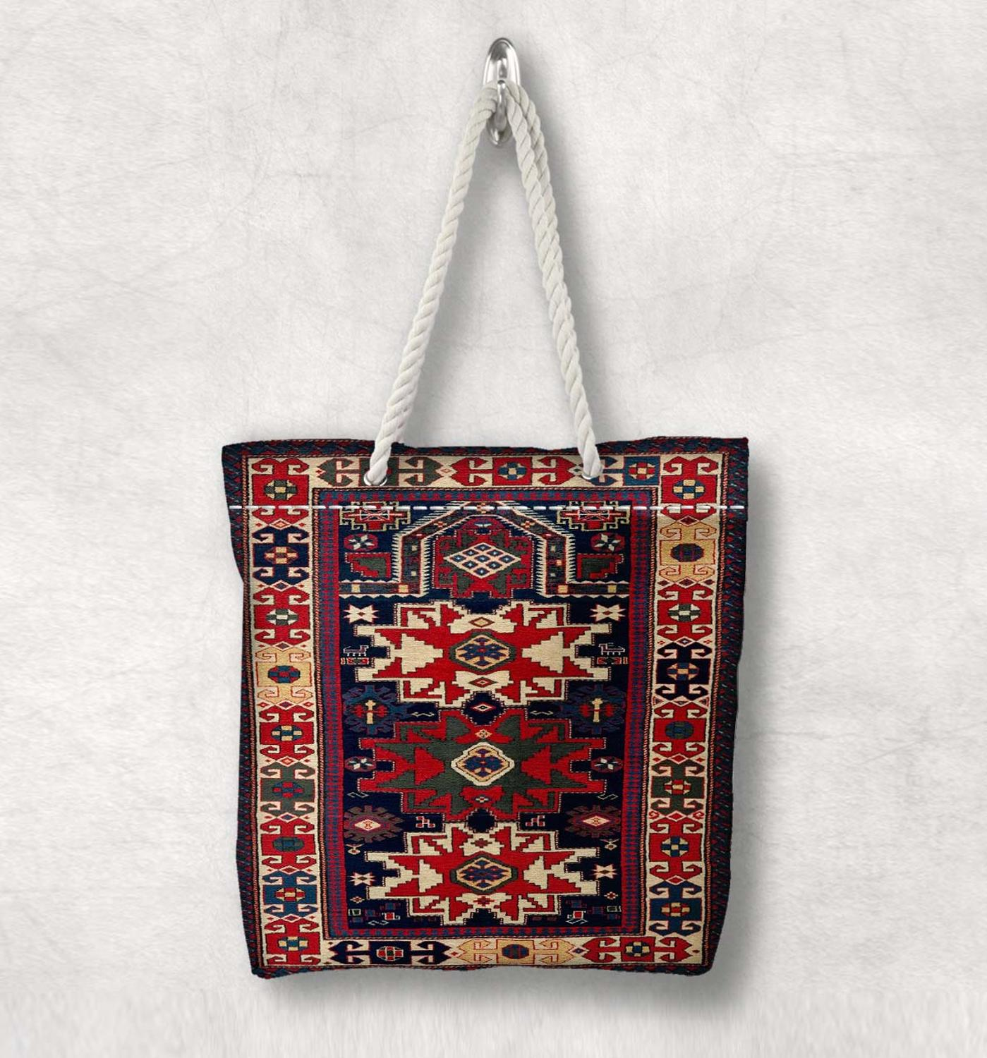 Else Red Blue Anatolia Antique Kilim Design Fashion White Rope Handle Canvas Bag Cotton Canvas Zippered Tote Bag Shoulder Bag