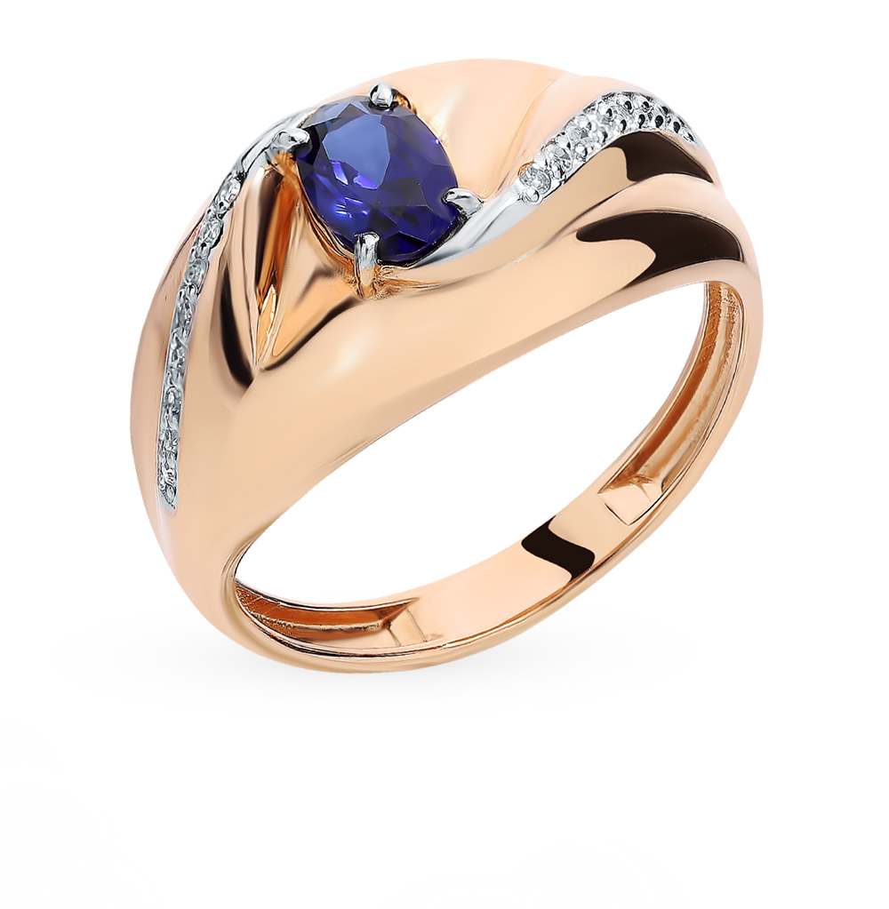 Gold Ring With Sapphire And Diamond SUNLIGHT Test 585