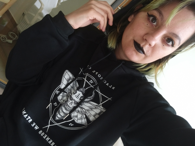 E-girl Gothic Punk Harajuku Hoodie with Devil print photo review