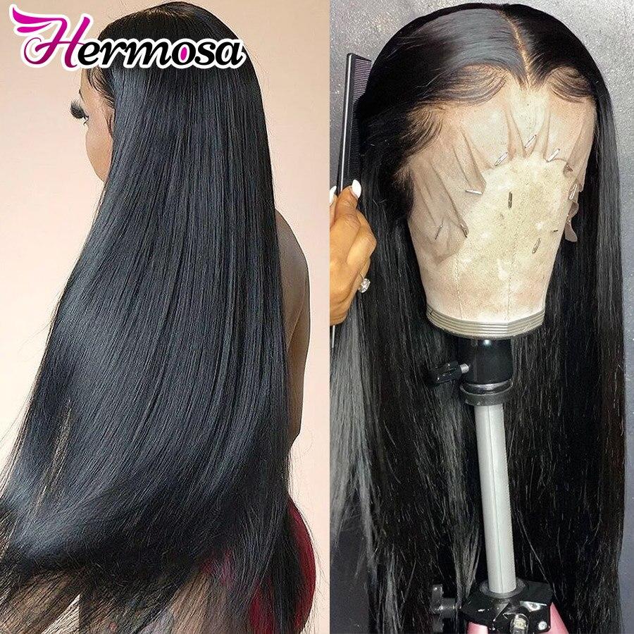 HD прозрачный 13x4 фронтальный парик человеческих волос для женщин предварительно отобранный Remy бразильский прямой парик кружева с волосами ...