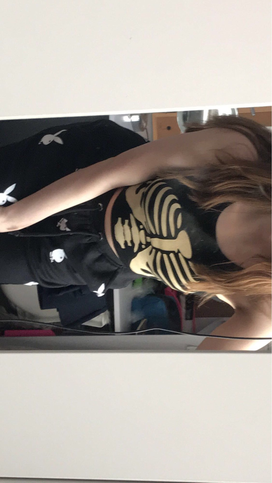 E-girl Gothic Punk Y2K Aesthetic Crop Top  with skeleton print photo review