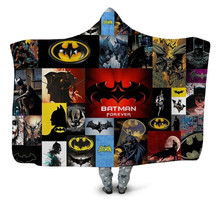 Batman Spiderman Printed Plush Hooded Blanket For Adults Kid Warm Blankets For Beds Wearable Double layer Fleece Throw Blankets(China)