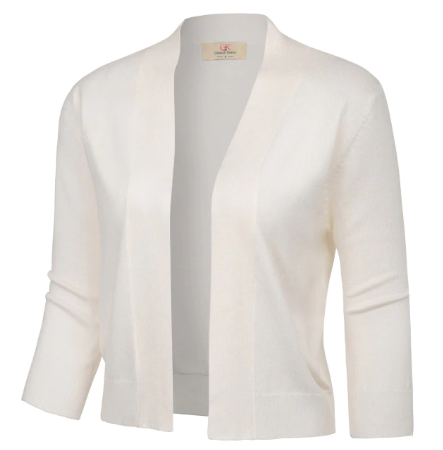 SIL257 Jacket Women Shrug 3/4 Sleeve Opening Front Bolero Solid Slim M002 Autumn Spring Ladies Elegant Cropped Length