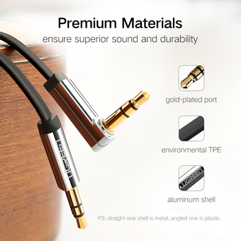 UGREEN 3.5mm Audio Cable Stereo Aux Jack to Jack Cable 90 Degree Right Angle Auxiliary Cord Male to Male For PC Speaker Cable 4