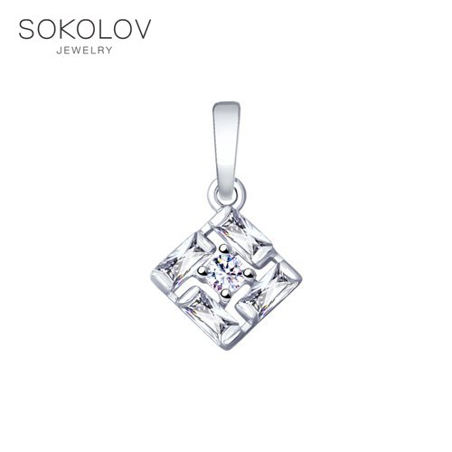 Pendant SOKOLOV From Silver With Cubic Zirkonia Fashion Jewelry 925 Women's Male, Pendants For Neck Women