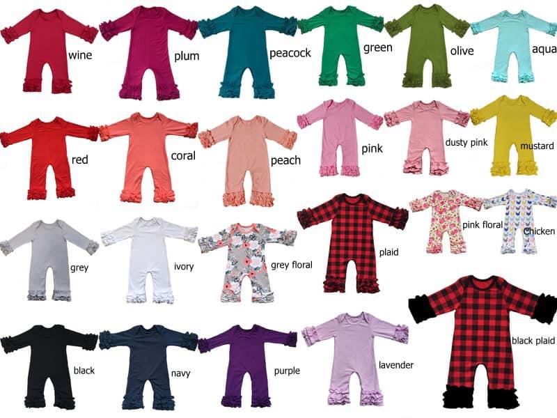 Herbst winter Großhandel Baby Icing Rüsche bein Strampler senf plum olive pfau Boutique Neugeborene plain Farbe pyjama kleider Overall
