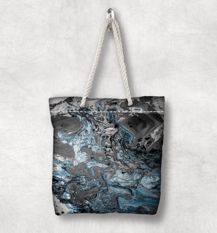Başka yeşil siyah mavi soyut suluboya yeni moda beyaz halat kolu kanvas çanta pamuk kanvas fermuarlı Tote çanta omuzdan askili çanta