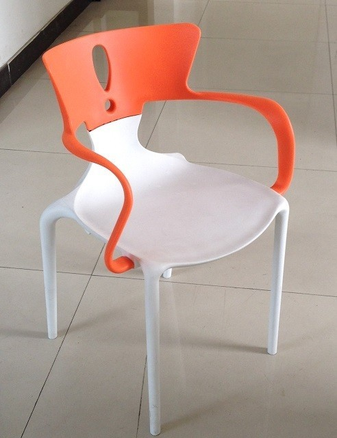 Armchair HANS, Polypropylene White-orange