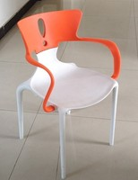 Cadeira hans  polipropileno branco laranja -