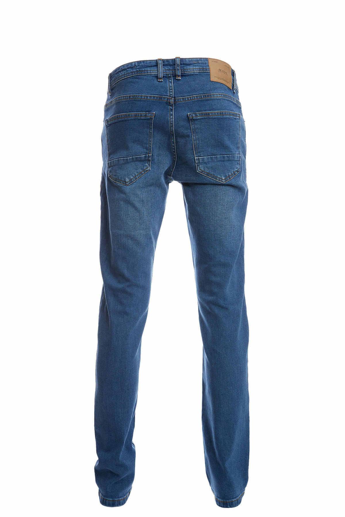Defacto calças de brim de brim azul denim calças de brim masculinas em linha reta calças de brim azul escuro Trousers-O0322AZ20SM