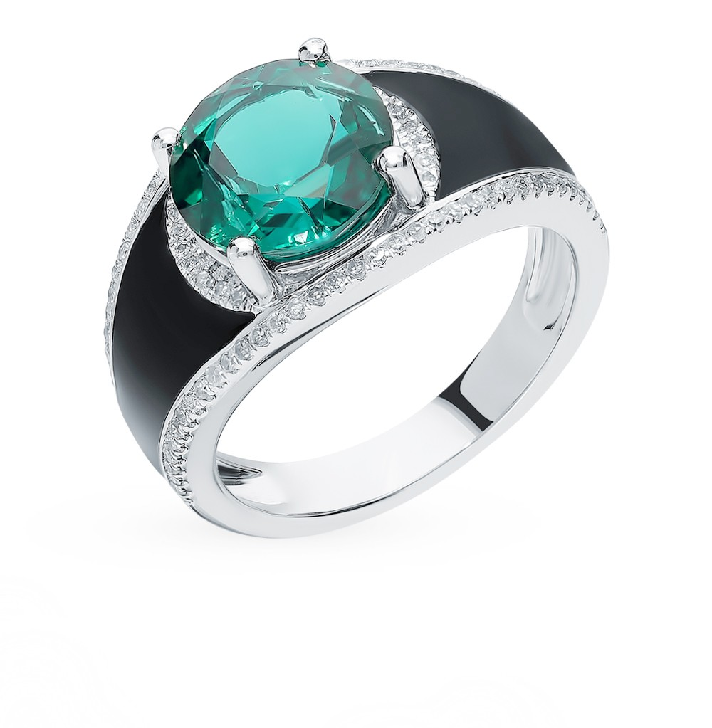 Gold Ring With Emerald, Enamel And Diamonds Sunlight Sample 585