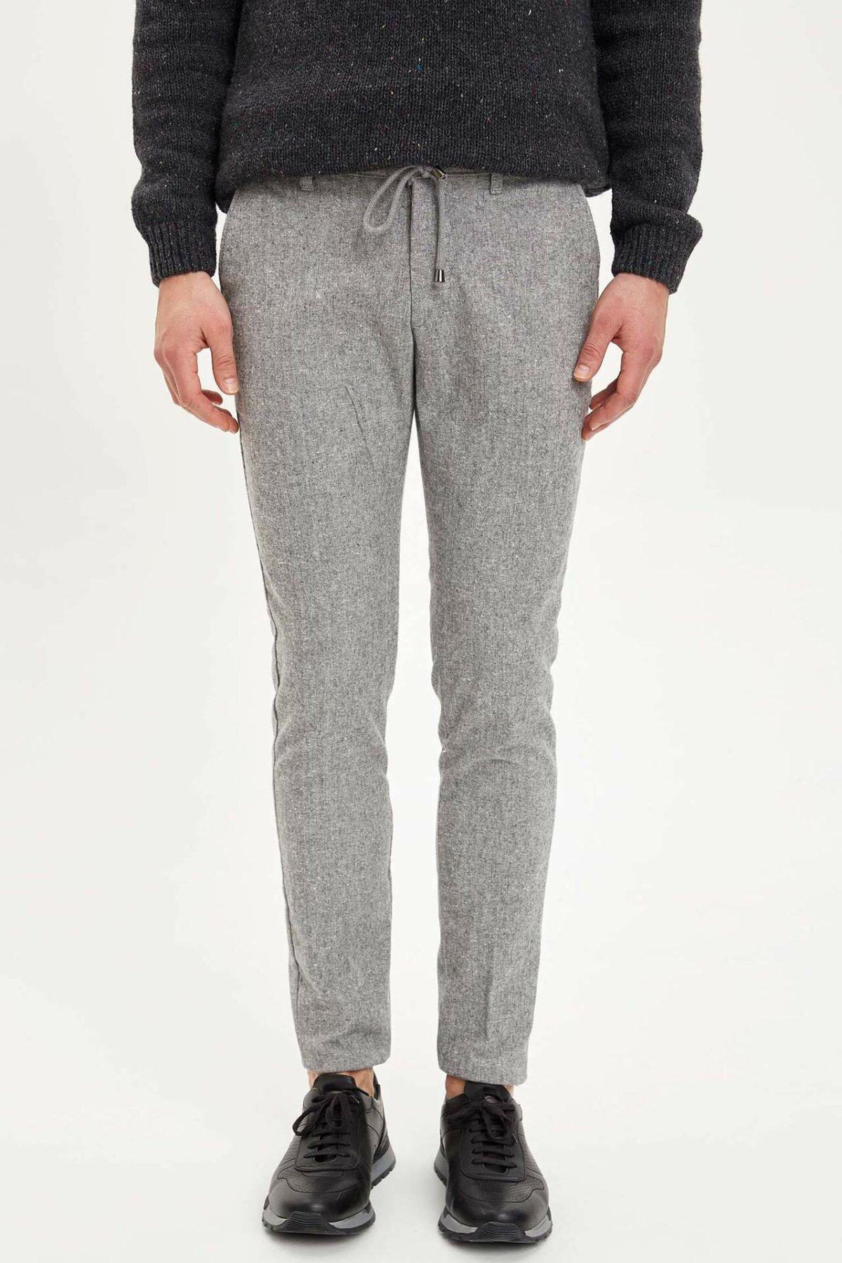 DeFacto Man Winter Light Grey Long Pants Men Casual Lace-up Thick Bottoms Male Mid-waist Trousers-M2100AZ19WN
