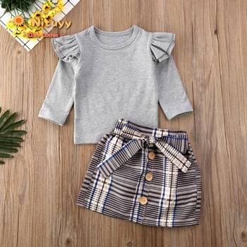 Toddler Girl Clothes Winter Kids Baby Sweet Autumn Winter Warm Infant Long Sleeve Tops Plaid Dress 2PCS Outfit Set 2019 1 5t toddler kids baby girl clothes set long sleeve ruffle tops denim skirt dress set elegant summer fashion outfit set