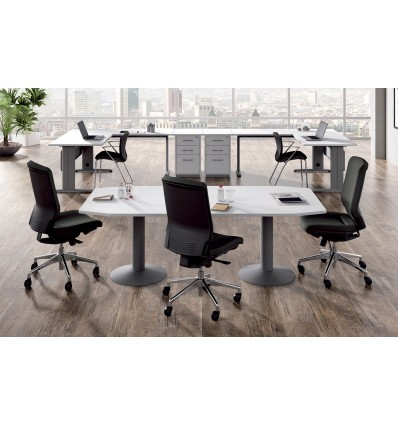 MEETING TABLE 220x100x72CM COLOR: PAW METAL WHITE/GRAY BOARD