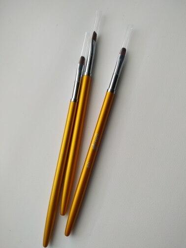 3 Size Nail Art Gold Round Top Painting Brush Set Gel Polish Tips Extending Coating 3D Petal Flower DIY Drawing Shaping Pens Kit reviews №4 161360