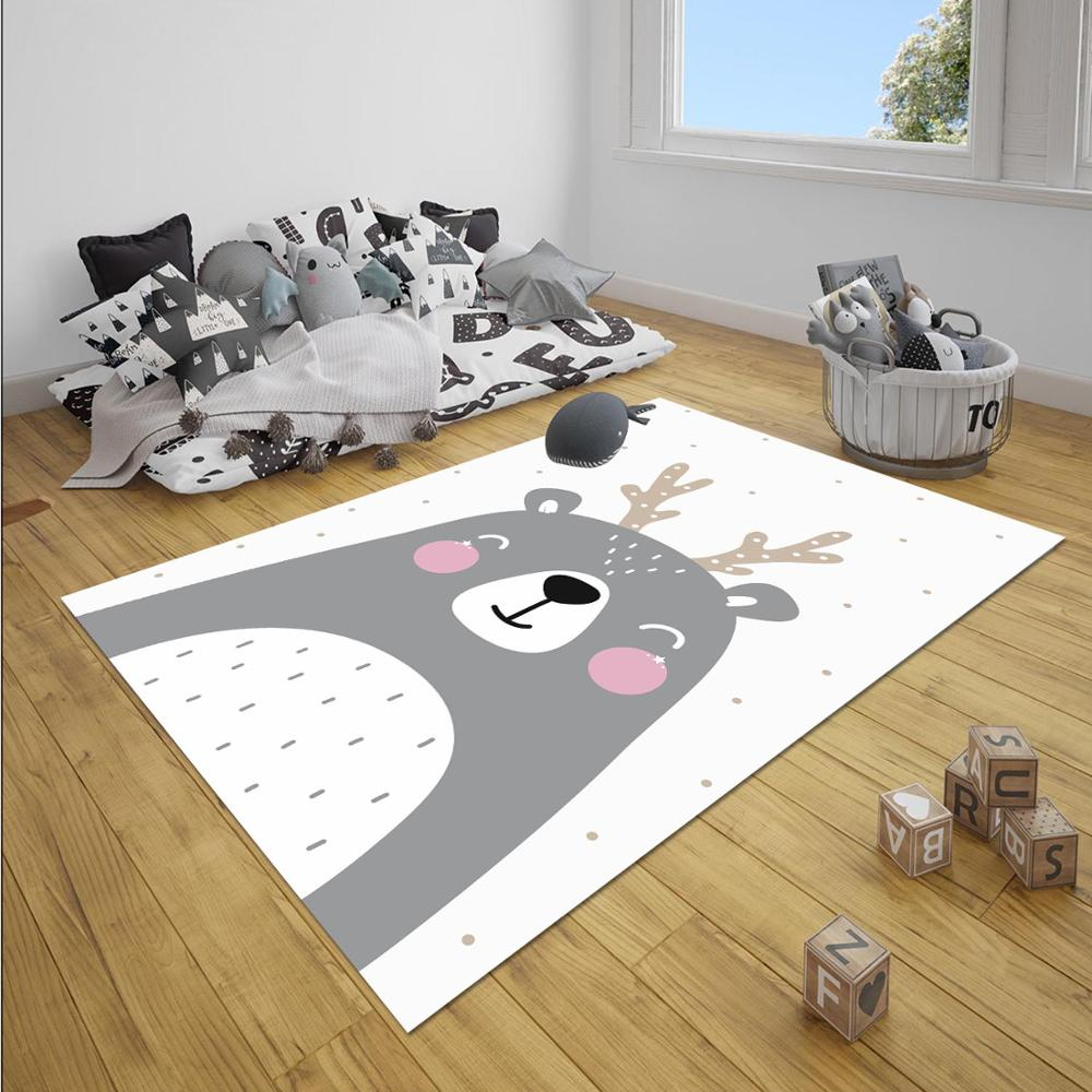 Else Gray White Pink Cute Deer Animals Girl 3d Print Non Slip Microfiber Children Baby Kids Room Decorative Area Rug Mat