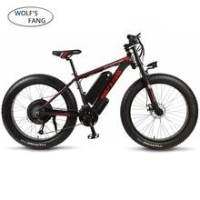 Lupo fang Bicicletta Elettrica Grasso Mountain Bike in lega di alluminio 26 pollici 27 velocità di 48V 1000W Motore 16AH ebike moto da neve fat tire