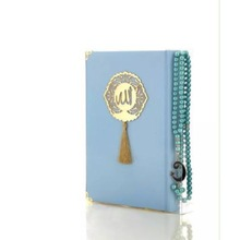Blue Holy Quran Book With Prayer Beads Tasbeeh
