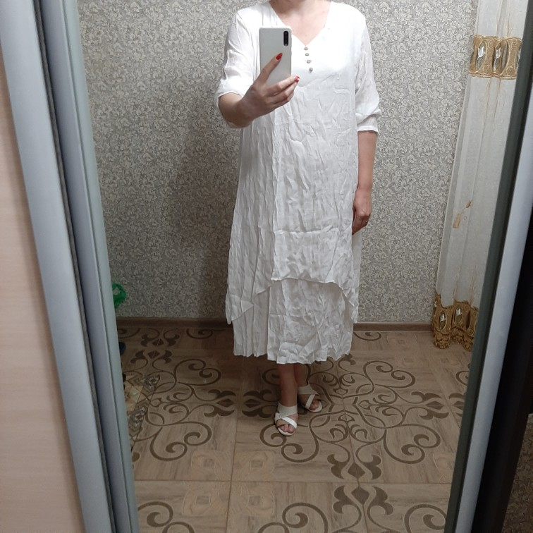 Spring Summer Women Long Cotton Linen Dress White Plus Size False Two Pieces O Neck Maxi Dresses Office Casual Loose Dress photo review