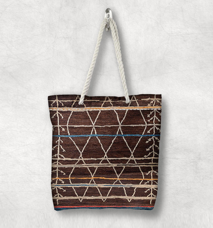 Mais marrom bege retro anatolia antigo nova moda corda branca alça lona saco de lona de algodão com zíper bolsa de ombro
