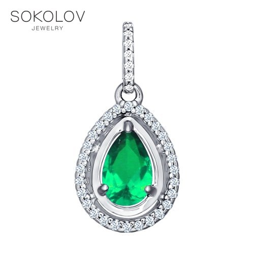 SOKOLOV Suspension Of Silver With Cubic Zirconia Green Fashion Jewelry 925 Women's Male