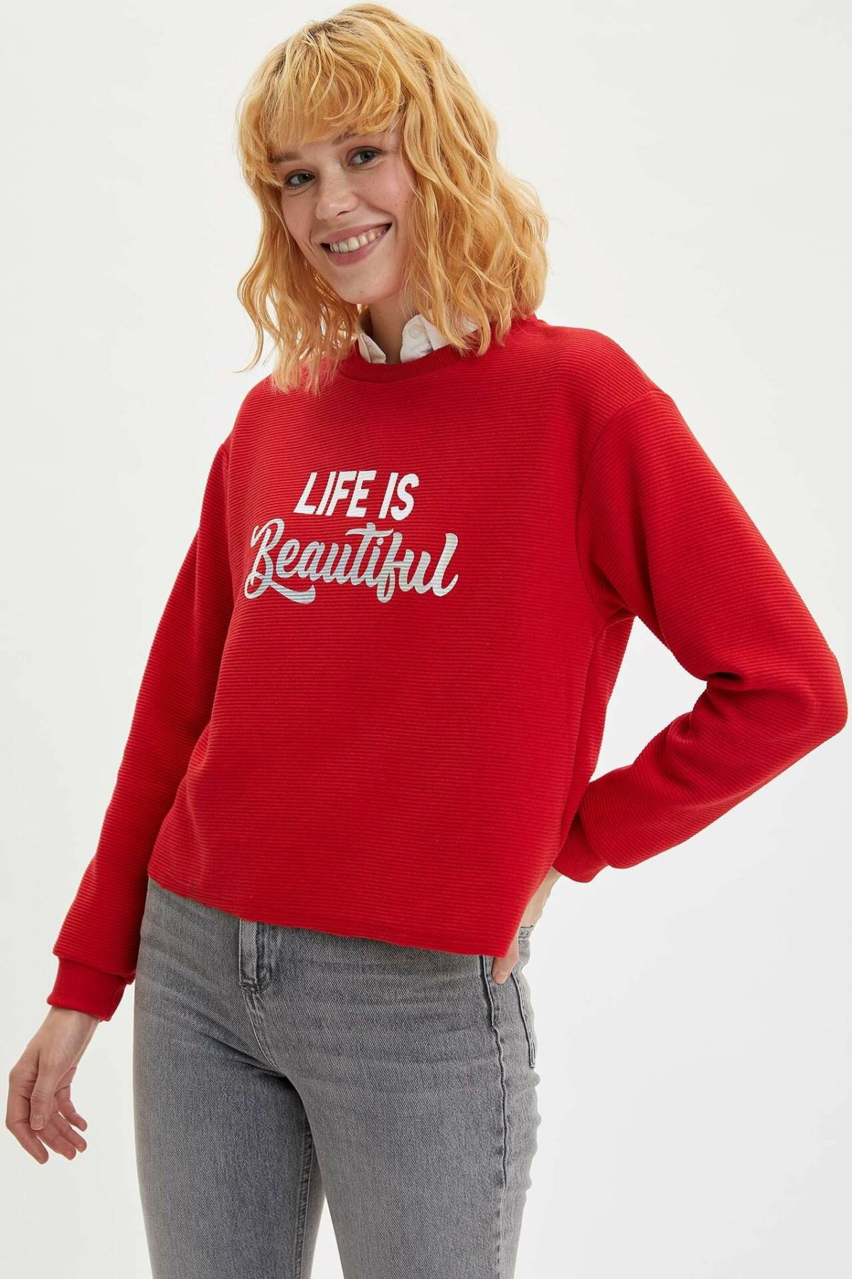 DeFacto Fashion Woman O-neck Sweat Shirt Female Long Sleeves Letter Pattern Tops Ladies Casual Loose Pullover New - M6332AZ19WN