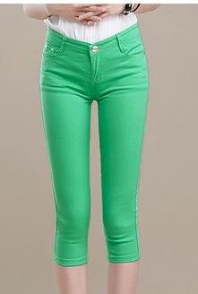 OIL6664 Women's Capris Summer Pants For Women a001 Candy PanSummer Autumn Solid Elastic Waist Cotton Linen Pants Black Pants